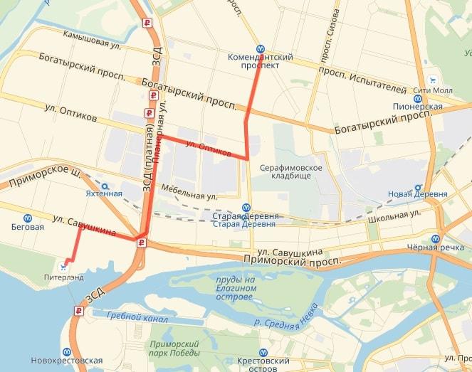 маршрут до Питерлэнда