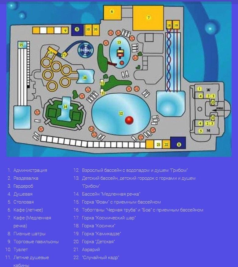 План аквапарка Морская звезда
